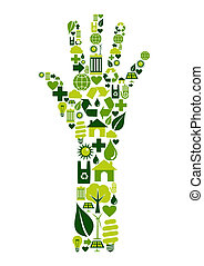 Human hand with environmental icons