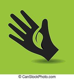 Human hand with green leaf symbol