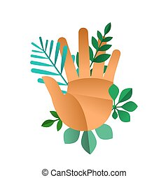 Human hand with green plant leaf for nature help