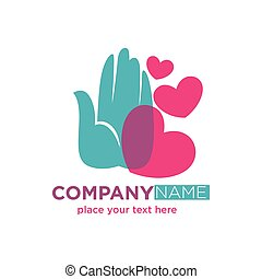 Human hand with hearts company logotype design isolated on white.