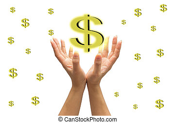 human hand with money isolate on white background