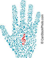Human hand with musical notes and elements