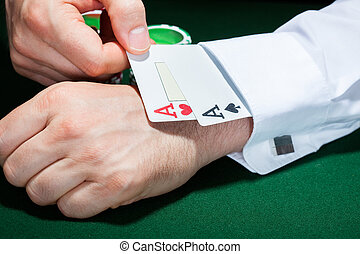 Human hand with playing cards in sleeve - Close-up of human ...