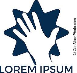 Human hand with Star vector logo design.