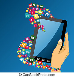 Human hand with tablet pc social media icons. - Human hand...