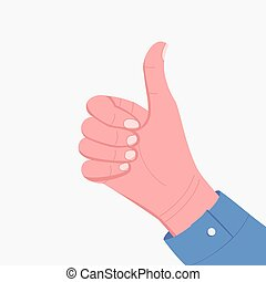 Human hand with thumb up. Gesture like, cool.