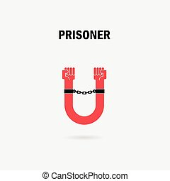 Human hands and the chain with U Letter symbols.Prison with...