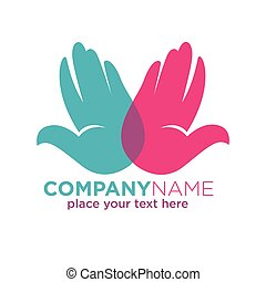 Human hands company colorful logotype isolated on white