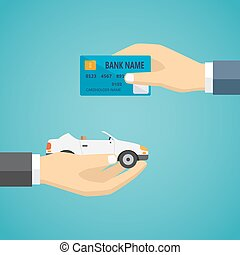 Human hands exchanging credit card and car