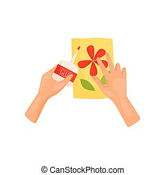 Human hands glue colored paper details of applique. Handmade craft. DIY postcard. Hobby theme. Flat vector icon
