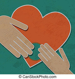 human hands hold my heart, vector background.