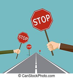 road signs stop
