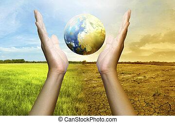 Human hands holding a globe