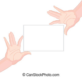 Human hands holding blank paper