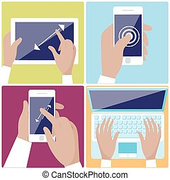 Human hands holding digital devices icons set