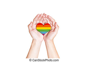 Illustration of gay symbol in rainbow heart form isolated over white background Gay love