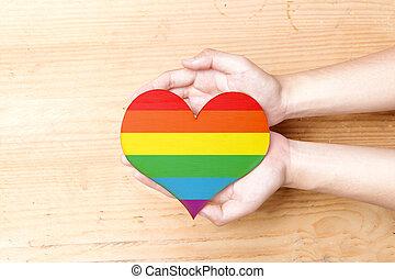 Human hands holding heart with rainbow flag