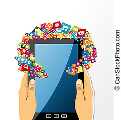 Human hands holds tablet pc app icons.