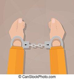 human hands in handcuffs