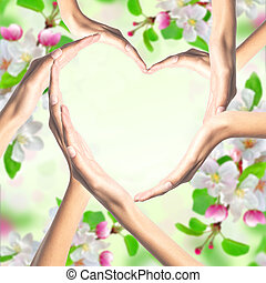 Human hands in heart shape over bright spring blossom background
