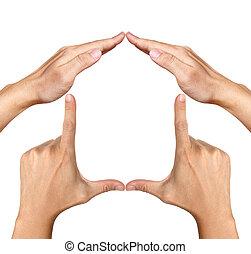 human hands made house shape