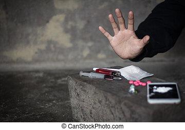 Human hands on dark background, Stop drug addiction concept...