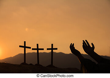 Human hands open palm up worship., Concept for Christian, ...