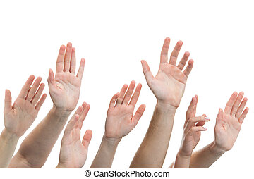 human hands raised up - Close-up of several human hands...