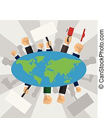 Human hands raised with banners around the earth globe