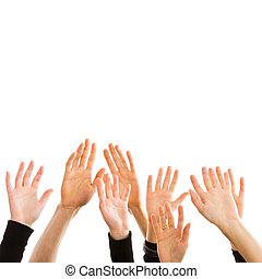 Human hands reaching for the sky isolated on white