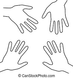 Human Hands. Vector Outline Palm Hand Symbols.