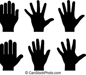 Human hand palms vector sihouette icons set