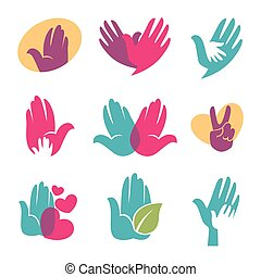 Human hands vector symbols of helping hand, heart or bird icon