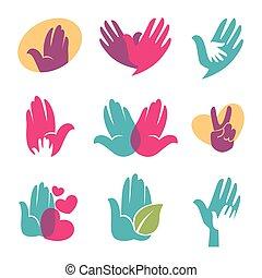 Human hands vector symbols of helping hand, heart or bird icon