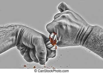 Human hands violently breaking cigarettes Anti smoking ...