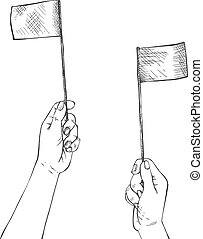 Human hands waving two small flags