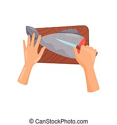 Human hands with a knife cutting fish on a wooden cutting board, top view vector Illustration on a white background
