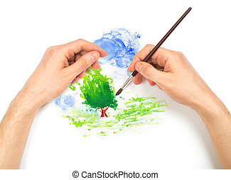 Human hands with brush painting nature landscape