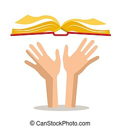 Human Hands with Open Book. Vector.