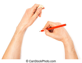 Human hands with pencil and erase rubber writting something