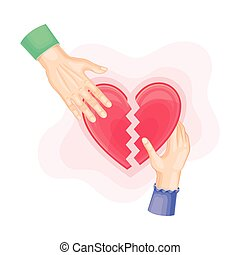 Human Hands with Red Broken Heart as Love Relationship Breakup Sign Vector Illustration. Termination of Romantic Feeling and Passion Concept