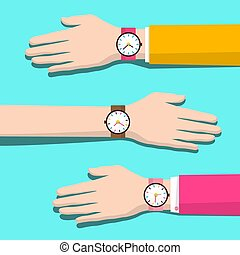 Human Hands with Watches. Vector Flat Design Illustration