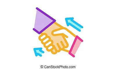 human handshake Icon Animation. color human handshake animated icon on white background