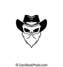 Human hat and eyepatch, Vintage logo, skull tattoo template design, skull bandits