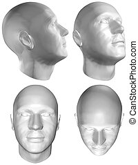 Human head 3D render - Set of four views of a human head at...