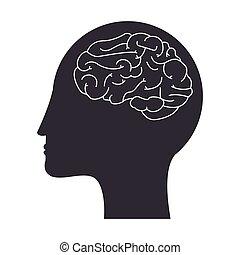 human head and brain icon