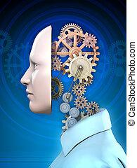Human head and gears