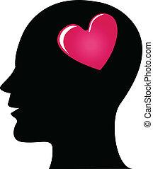 Human head and heart logo