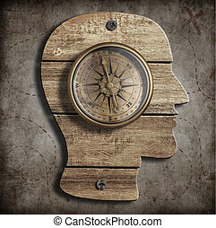 Human head and old compass. Path finding, idea concept.