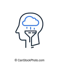 Human head and rainy cloud, cognitive psychology or ...